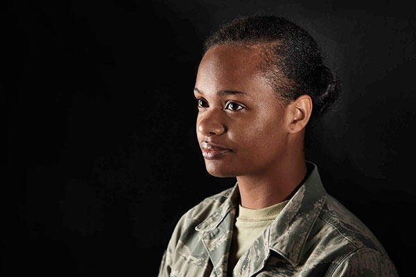 Senior Airman Augustine Thompson-Brown is a 35th Medical Operations Squadron mental health technician. Thompson-Brown spent most of her life homeless and shares her story to inspire others. (U.S. Air Force/A1C Jordyn Fetter)