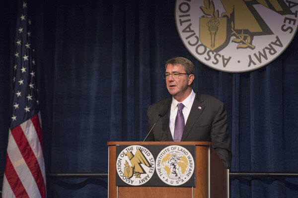 Secretary of Defense Ash Carter provides remarks at the Association of the U.S. Army sustaining member luncheon Oct. 14, 2015 in Washington. (Photo by Senior Master Sgt. Adrian Cadiz)