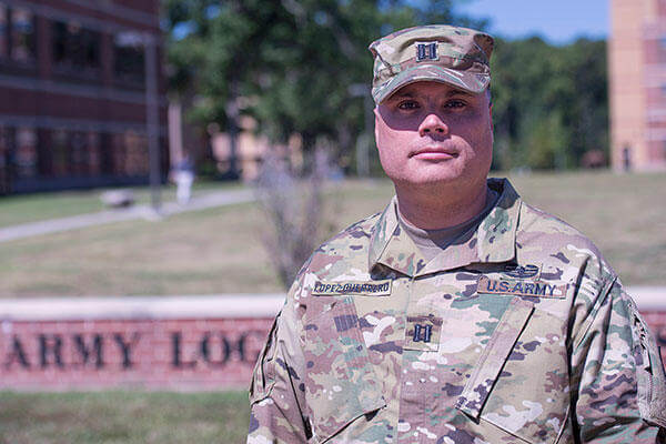 Army Reserve Transportation officer Capt. Daniel Lopez-Guerrero, stands outside of the Army Logistics University at Fort Lee, Va. (DoD photo by U.S. Navy Petty Officer 3rd Class Timothy Haake)