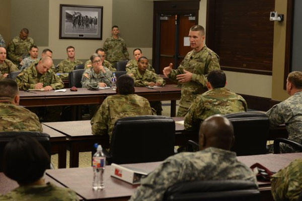 Sgt. Maj. of the Army Daniel A. Dailey speaks at the chief of staff of the Army-sponsored Noncommissioned Officer Solarium II. Photo: U.S. Army