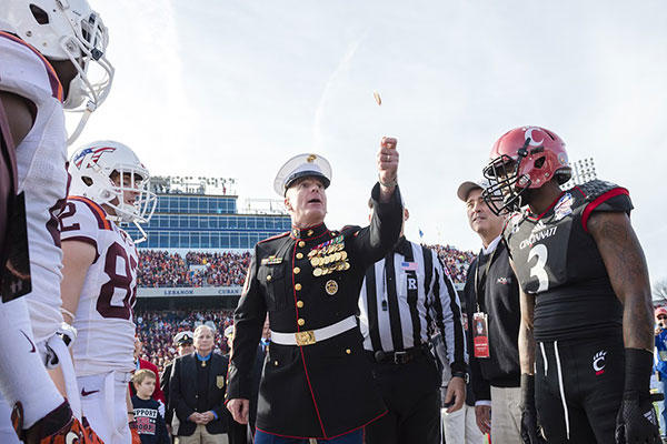 Marine Corps Sgt. Maj. Bryan B. Battaglia, the senior enlisted advisor to the chairman of the Joint Chiefs of Staff, attends the 2014 Military Bowl at Navy-Marine Corps Memorial Stadium in Annapolis, Md., Dec. 27, 2014. (DoD/Army Staff Sgt. Sean K. Harp)