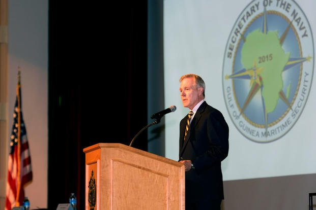 Secretary of the Navy Ray Mabus gives the keynote address at the Gulf of Guinea Maritime Security Dialogue 2015 at the U.S. Naval Academy in Annapolis, Md. (Photo: Mass Communication Specialist 2nd Class Tyrell K. Morris)