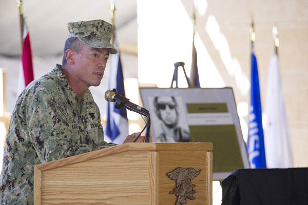 Rear Adm. Brian L. Losey, commander of Naval Special Warfare Command, speaks to military and civilian personnel during a June 2014 dedication ceremony in Campo, Calif. MC1 Marc Rockwell-Pate/Navy