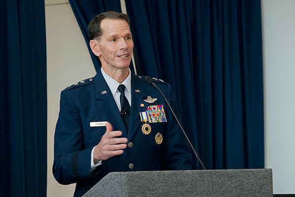 Lt. Gen. Stanley E. Clarke III, director of the Air National Guard, speaks to attendees during his retirement ceremony at the ANG Readiness Center, Joint Base Andrews, Md. (Air National Guard/Master Sgt. Marvin R. Preston)