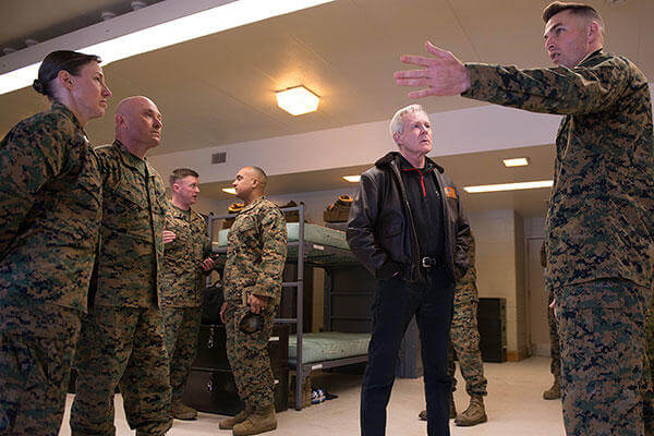 Secretary of the Navy Ray Mabus is given an overview of a squad bay at Officer Candidate School during his visit to Marine Corps Base Quantico, Virginia, Jan. 27, 2016. (U.S. Marine Corps/Sgt. Cuong Le)