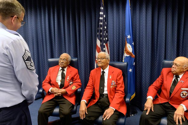 Tuskegee Airmen former Cadet William Fauntroy Jr., retired Col. Charles McGee and former Cadet Walter Robinson Sr. meet to share their stories with Airmen at the Pentagon Feb. 16, 2016. (Photo: Scott M. Ash)