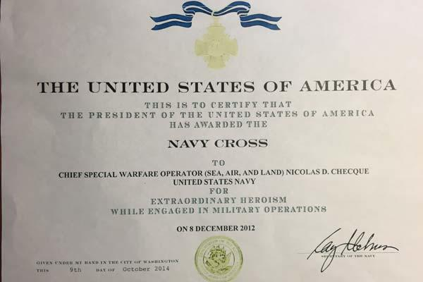 Nicolas Checque's Navy Cross certificate