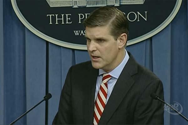 Pentagon Press Secretary Peter Cook conducts a press briefing with reporters at the Pentagon, May 26, 2016. (DoD Screengrab)