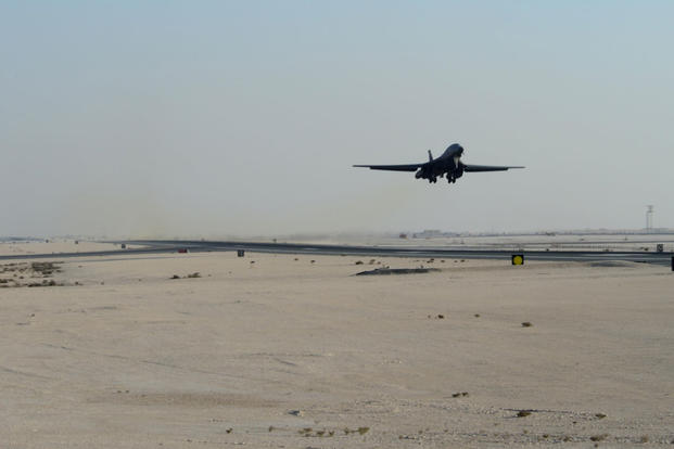 A B-1B Lancer assigned to the 34th Expeditionary Bomb Squadron, deployed from Ellsworth Air Force Base, S.D., takes off, Feb. 25, 2015, at Al Udeid Air Base, Qatar. (U.S. Air Force photo by Senior Airman Kia Atkins)