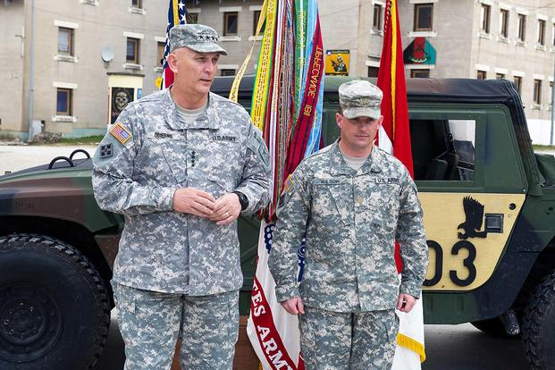 U.S. Army Chief of Staff Gen. Raymond T. Odierno gives his remarks about U.S. Army Maj. Jeremy Wilson during his promotion ceremony to the rank of lieutenant colonel in Hohenfels, Germany. (U.S. Army photo by Staff Sgt. Teddy Wade)