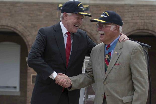 Retired Marine Col. Harvey Barnum joined Navy Secretary Ray Mabus on July 28, 2016, at Marine Barracks Washington, D.C., for an announcement that a destroyer would be named in Barnum's honor. (Photos courtesy Chi Nguyen/U.S. Marine Corps)