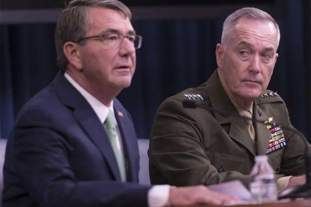 Secretary of Defense Ash Carter and U.S. Marine Gen. Joseph F. Dunford Jr., chairman of the Joint Chiefs of Staff, hold a press conference at the Pentagon, July 25, 2016. (DoD Photo by Navy Petty Officer 2nd Class Dominique A. Pineiro)