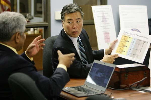 Rep. Takano discussing charts with Rep. Honda (Photo: Work for Warriors Caucus)