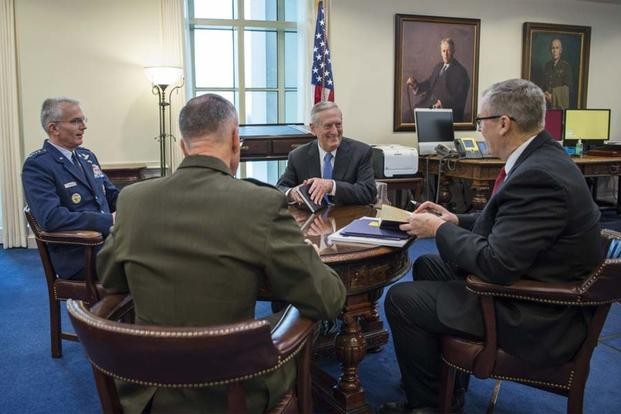 "Secretary of Defense James Mattis hosts his first ""Top 4"" roundtable after arriving at the Pentagon in Washington, D.C., Jan. 21, 2017. (Photo by Tech. Sgt. Brigitte Brantley)"