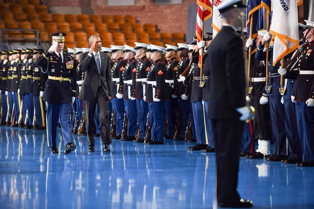 Departing commander in chief, President Barack Obama, salutes the troops during an armed forces full honor farewell ceremony at Joint Base Myer-Henderson Hall, Va., Jan. 4, 2017. (Army photo by Pvt. Gabriel A. Silva)