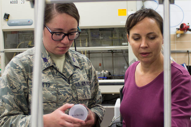 Air Force Academy Cadet First Class Hayley Weir and AFCEC research chemist Katherine Simpson talk about Weir's capstone project: the development of a new ballistic resistant, flexible, lightweight nanotech-enabled fabric. (U.S. Air Force/Mekka Parish)