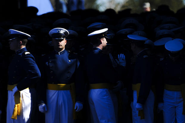 Air Force Academy graduates wait at the Falcon Station tunnel prior to the graduation ceremony at the Air Force Academy, Colorado, May 24, 2017. (U.S. Air Force photo/Tech. Sgt. Julius Delos Reyes)