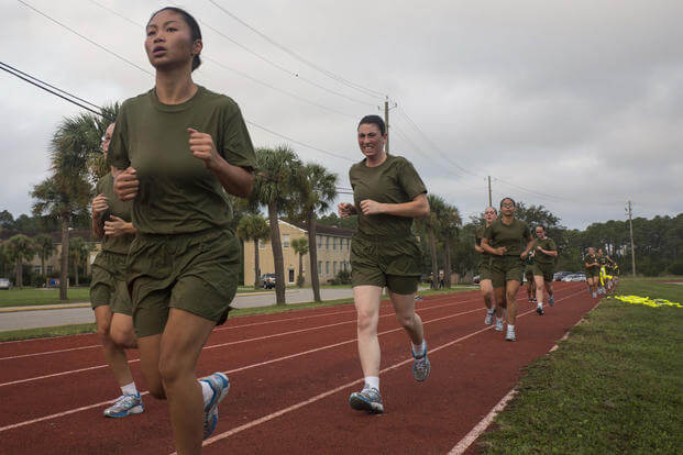 Recruits of November Company, 4th Recruit Training Battalion, run 1.5 miles during an initial strength test Sept. 16, 2016, on Parris Island, S.C. (U.S. Marine Corps photo/Cpl. Vanessa Austin)