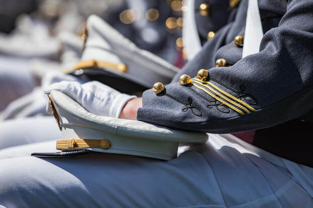 U.S. Military Academy cadets wait to receive their diplomas during their graduation ceremony at West Point, May 27, 2017. (U.S. Army photo/Michelle Eberhart)
