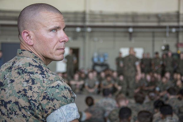 U.S. Marine Corps Lt. Col. Shawn P. Grzybowski, commanding officer of Combat Logistics Battalion 8, attends a town hall, Sigonella, Italy, June 16, 2017. (U.S. Marine Corps photo/Cpl. Samantha K. Braun)