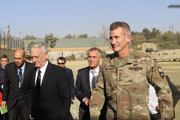 U.S. Secretary of Defense, James Mattis, NATO Secretary-General Jens Stoltenberg and Gen. John W. Nicholson, commander of the Resolute Support mission, visit the mission headquarters in Kabul, Afghanistan, Sept. 27, 2017. (U.S. Navy/Lt.Cmdr. Kathryn Gray)