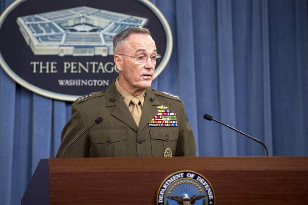 Marine Corps Gen. Joe Dunford, chairman of the Joint Chiefs of Staff, speaks with reporters about recent military operations in Niger Oct. 23, 2017, at the Pentagon. (DoD/Air Force Tech. Sgt. Brigitte N. Brantley)
