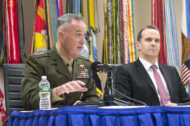 Marine Corps Gen. Joe Dunford delivers remarks alongside special envoy Brett H. McGurk, during a press conference following the 2017 Chiefs of Defense Conference at Fort Belvoir, Va., Oct. 24, 2017. (DoD/Petty Officer 1st Class Dominique Pineiro)