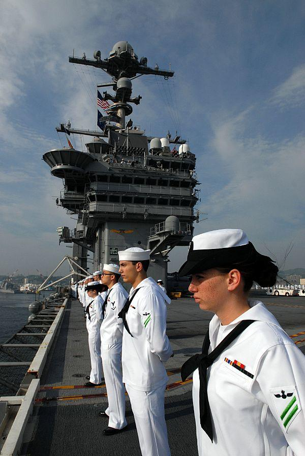 Sailors deployed aboard the carrier USS George Washington