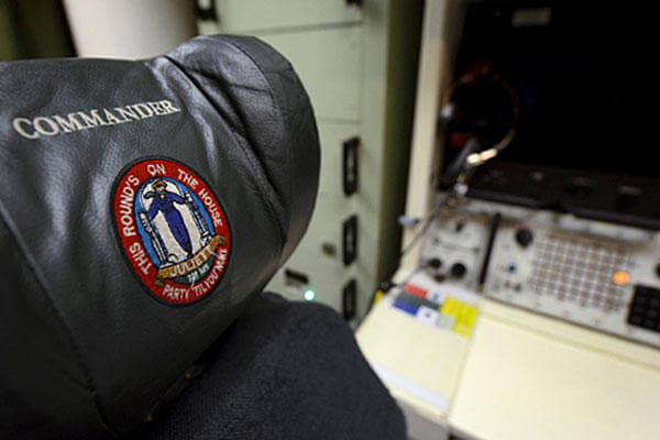 This photo taken June 24, 2014, shows a patch on the commander's chair in the underground control room where a pair of missile launch officers man a 24-hour shift at an ICBM launch control facility at Minot Air Force Base, N.D. Charlie Riedel/AP