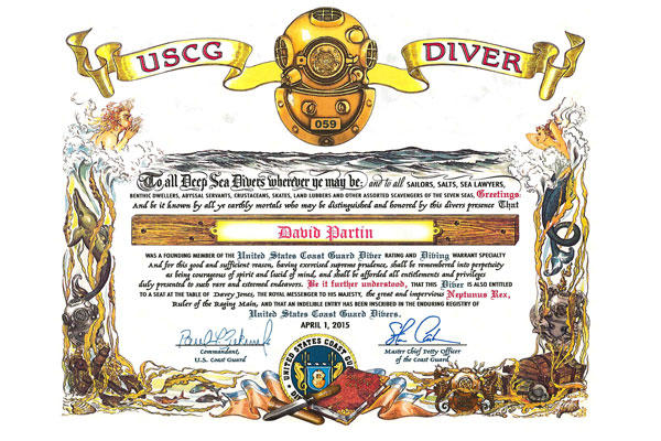 The Coast Guard diver rating and specialty was established in April, 2015. Coast Guard members recognized as DV or DIV were presented a personalized certificate. (U.S. Coast Guard image)