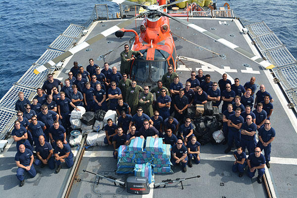 The crew of the Coast Guard Cutter Seneca interdicted five vessels resulting in the apprehension of 15 suspected narcotics traffickers, and approximately 3.5 tons of cocaine with a street value of nearly $63 million. (U.S. Coast Guard)