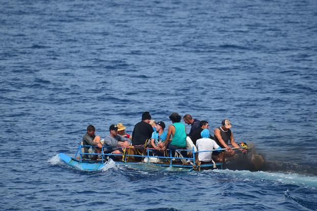 A group of Cuban migrants are discovered south of Key West, Florida, Sep. 13, 2015. The crew of the Coast Guard Cutter Mohawk interdicted the group of migrants who were later repatriated back to Cuba. U.S. Coast Guard photo.