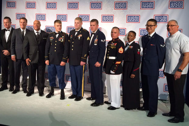 and top military officers honored the USO's service members of the year during the organization's annual gala, held Oct. 20, 2015, in Washington, D.C. (Photo courtesy USO)