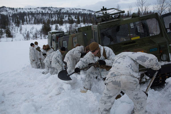 U.S. Marines with Company G, 2nd Battalion, 2nd Marine Regiment, 2nd Marine Division dig a path for a Bandvagn 206 to move through the snow in Giskaas, Norway (Photo By: Lance Cpl. Cesar N. Contreras)