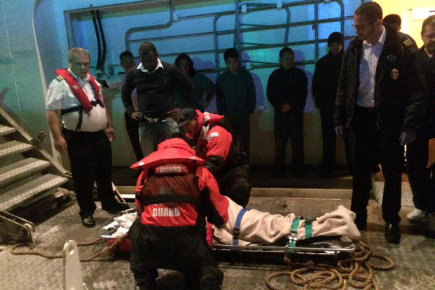 Coast Guard Personnel from Station Little Creek medevac a 55-year-old man Thursday, March 31, 2016 after he suffered chest pains aboard the cruise ship Grandeur of the Seas. (Photo: Petty Officer 2nd Class Geoffrey Wells)