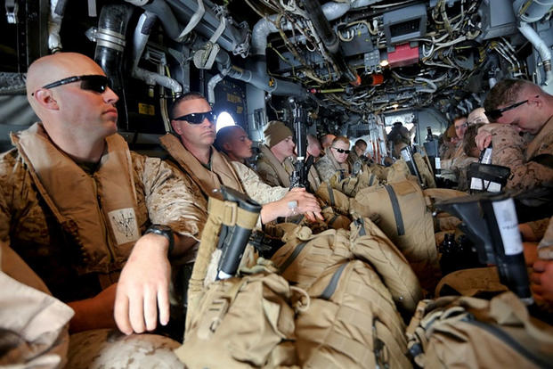 U.S. Marines with Special-Purpose Marine Air-Ground Task Force Crisis Response board an MV-22B Osprey traveling to Tifnit Military Instillation, Morocco, in 2014 as a part of Exercise African Lion 14. Lance Cpl. Alexander Hill/Marine Corps