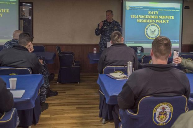 Capt. Jeffrey Ward, commanding officer of the USS Bonhomme Richard, facilitates transgender training with chiefs and officers in the ship's wardroom. (U.S. Navy Photo/ Mass Communication Specialist 2nd Class Kyle Carlstrom)
