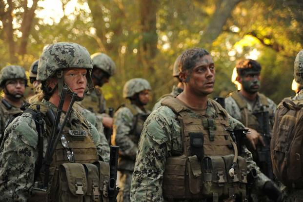 Sailors participating in the Riverine Combat Skills course (RCS) prepare for a field training exercise at Camp Lejeune, N.C., Oct. 24, 2012. (U.S. Navy/Specialist Seaman Heather M. Paape)