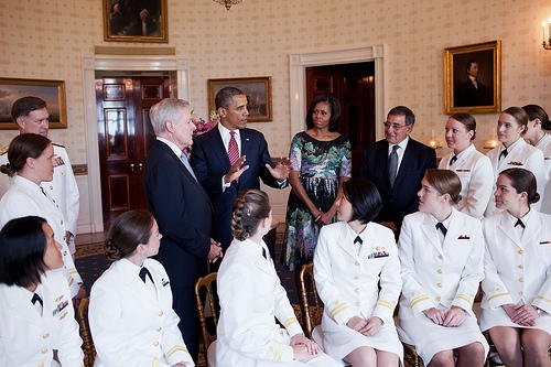 Top leaders hosted female submariners at the White House