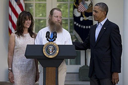 Jani and Bob Bergdahl hold a press conference with President Obama on the release of their son.