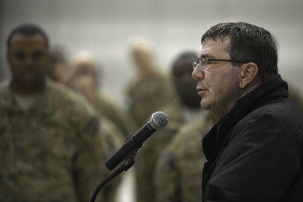 Ashton Carter, then the deputy secretary of defense, speaks with troops at Bagram Airfield, Afghanistan, on Nov. 28, 2013. Later, he served Thanksgiving dinner to Bagram personnel at Khoele Dining Facility. Senior Airman Kayla Newman/Air Force
