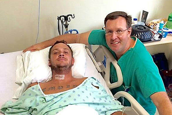 Tim Brumit and Dr. Colby Maher, the neurosurgeon who operated on him. Facebook photo