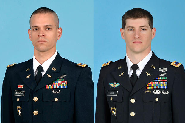 Chief Warrant Officer 2 Alex Caraballoleon and Chief Warrant Officer 2 Kevin M. Weiss were killed Dec. 2 when their helicopter crashed outside Fort Campbell, Kentucky. (Photo: U.S. Army.)