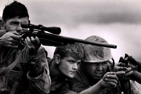 A Marine sniper team in action on Hill 861A during the Battle of Khe Sanh, February 1968. US military leaders considered using tactical nuclear weapons to break the enemy's siege there. (David Douglas Duncan/US Marine Corps)