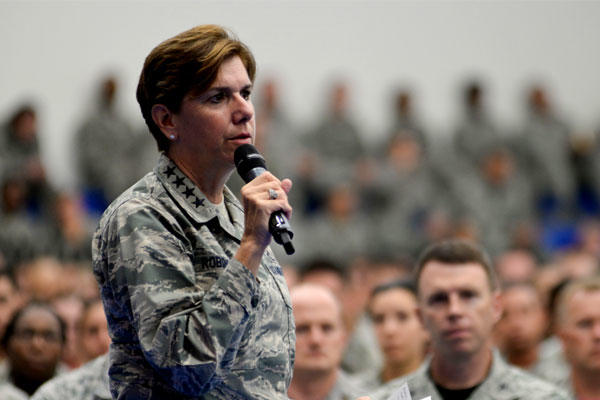 US Air Force Gen. Lori Robinson addresses airmen during an all-call on July 10, 2015, at Andersen Air Force Base in Guam. She has been listed by Time magazine as one of the 100 most influential people worldwide. (US Air Force/Katrina Brisbin)