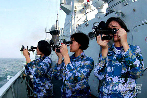 Chinese women servicemembers receive training on board the Chinese navy's frigate Jingzhou. (People's Republic of China photo)