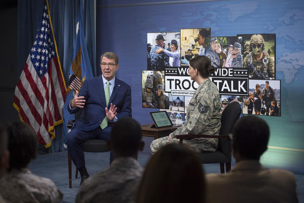 Defense Secretary Ash Carter answers questions during a Worldwide Troop Talk at the Pentagon on Sept. 21, 2016. Air Force Tech. Sgt. Brigitte N. Brantley/DoD