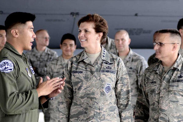 U.S. Air Force Gen. Lori Robinson visits airmen assigned to the 20th Expeditionary Bomb Squadron on July 9, 2015, at Andersen Air Force Base, Guam. (US Air Force/Alexander Riedel)
