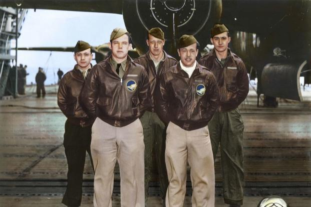 Crew No. 10: Lt. Richard O. Joyce, pilot; Lt. J. Royden Stork, copilot; Lt. Horace E. Crouch, navigator/bombardier; Sgt. George E. Larkin Jr., flight engineer; SSgt. Edwin W. Horton Jr., gunner. (U.S. Air Force photo colorized by Lori Lang)