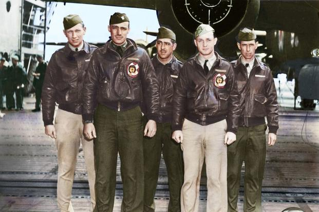 Crew 12: Lt. William M. Bower, pilot; Lt. Thadd H. Blanton, copilot; Lt. William R. Pound Jr., navigator; TSgt. Waldo J. Bither, bombardier; SSgt. Omer A. Duquette, flight engineer/gunner. (Colorized image © copyright 2017 Lori Lang, LBL Graphic Design)